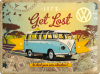 Blechschild - VW Bulli - Let's Get Lost